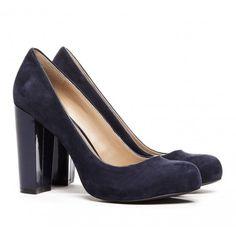 Navy Blue Block Heel Shoes