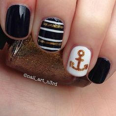 Black white and gold striped anchor nailart