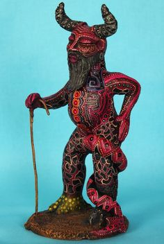 Old Man Devil Diablo Mexican Folk Art, Oaxaca Mexico Pottery Jose Juan Aguilar