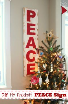 DIY Pottery Barn Knockoff PEACE Sign - The Happy Housie