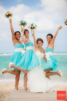 Short Tiffany Blue Bridesmaid Dresses with a White Sash...Sweetheart neckline and white shoes to tie the look together. #Beach #Wedding