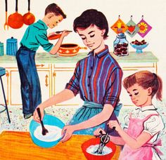 Notice how Mom and little Suzy are busily cooking while young Bobby 'helps out' through the manly art of tasting? ~ 1960s illustration for Betty Crocker Cookbook.