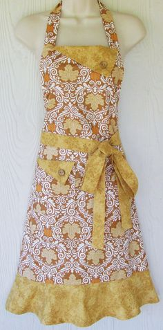 Harvest Apron Thanksgiving Apron Fall Apron Retro by KitschNStyle