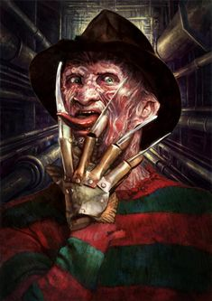 pixelated-nightmares: Freddy Krueger by Kid-Eternity Click. Freddy Krueger, Robert Englund, Dark Beauty, Horror Movie Characters, Horror Villains, Naruto Characters, Horror Artwork, Horror Icons, Classic Horror Movies