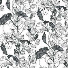 "York Wallcoverings Black and White Leaf Outline 27' x 27"" Floral and Botanical Roll Wallpaper | AllModern"