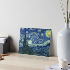 'Starry Night by Vincent van Gogh reprint' Art Board Print by Epic Splash Creations Watercolor Texture, Watercolor Paper, Starry Night Art, Van Gogh Art, Vincent Van Gogh, Great Artists, Art Boards, Art Prints, Iphone Wallet