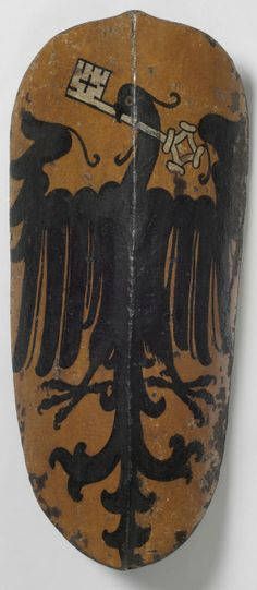 Pavise (shield) painted with the Coat of Arms of the Town of Wimpfen am Neckar (Baden-Württemberg), which joined the Swabian League in 1331. Made in southern Germany, Europe, 1450-1500
