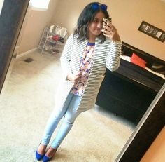 Ripped Jeans + Striped Topper + Floral Tee + Cobalt Pumps