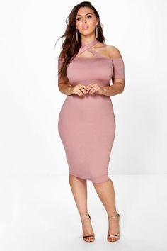 a1e8da94c24 Plus Jenna Strappy Neck Midi Bodycon Dress Bodycon Fashion