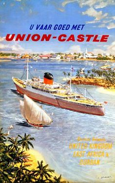 Vintage Shipping Poster from Onslows - Dutch Union Castle Poster.