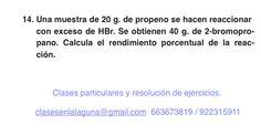 Ejercicio 14. Tema: Rendimiento (reacciones químicas)