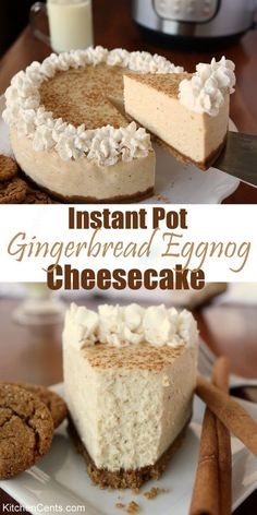 Did you know you can make a cheesecake in an Instant Pot or pressure cooker? This eggnog cheesecake recipe is a great dessert to have throughout the holidays. This Instant Pot verse is so easy and delicious, you'll have everyone asking for the recipe so Instant Pot Cheesecake Recipe, Eggnog Cheesecake, Cheesecake Crust, Gingerbread Cheesecake, Instapot Cheesecake, Pumpkin Cheesecake Recipes, Chocolate Cheesecake Recipes, Fudge Brownies, Japanese Sweets