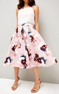 Blurred rose print skirt | Silk Fred