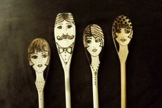 1920's style wooden spoons with wood burned art from littlesisterscrafts