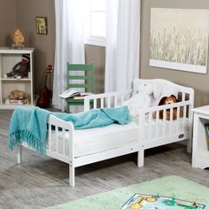 The Orbelle Contemporary Solid Wood Toddler Bed - White - Toddler Beds at…