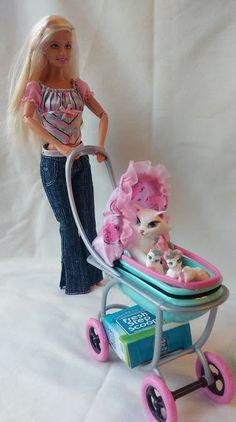 Mattel Barbie Doll, Pregnant Mom Cat & Kittens & Accessories, Posh Pets #Barbie #PetsAnimals