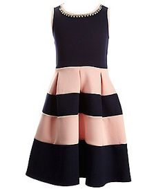 Poppies and Roses Big Girls 7-16 Color Block Jewel-Neck Dress