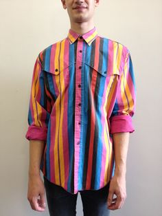 Vintage multicoloured striped Wrangler shirt        Click to buy!