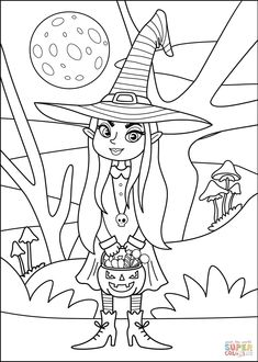 Witch coloring page   Free Printable Coloring Pages Witch Coloring Pages, Halloween Coloring Pages, Coloring Pages For Kids, Coloring Sheets, Free Coloring, Colouring, Coloring Books, Halloween Night, Holidays Halloween
