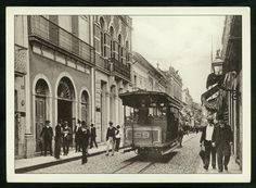 "Rua XV de Novembro - Primeira década de 1900. Antiga rua ""Direita"" e rua ""25 de Março"" recebeu o apelido de ""Wall Street Santista"""