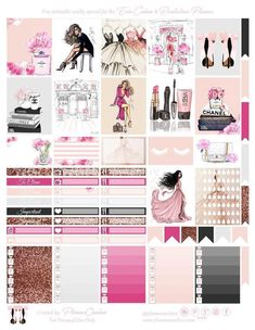 Free Printable Fashion Planner Stickers for the Erin Condren & Recollections Planner - Planner Onelove Perfume bottles, cosmetics, dresses, stickers, hydration trackers, banners, frames, tabs in romantic / pink and glitter theme