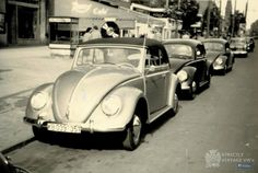 vintage pic .nice lie up ! a oval convertable followed bt two splits