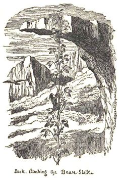 Jack climbing the beanstalk.  From: Cruikshank, George, editor and illustrator. The History of Jack & the Bean-Stalk. Part of George Cruikshank's Fairy Library. London: David Bogue, [n.d., 1854].