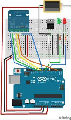 Controlling a lock with an Arduino and Bluetooth LE Diy Electronics, Electronics Projects, Arduino Programming, T Power, Raspberry Pi Projects, Diy Store, Circuit Diagram, Electrical Engineering, Home Automation