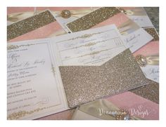 Blush and gold glitter pocket invitations Deannamic Designs