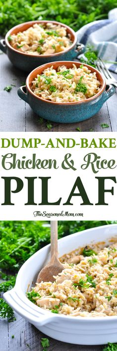 Dump-and-Bake Chicken and Rice Pilaf is an easy dinner that cooks in one dish! One Pot Meals | Chicken Breast Recipes | Casseroles #rice #chicken #dinner