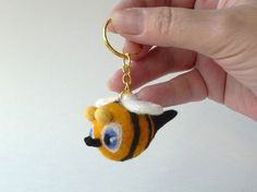 Blueeyed bee key ring  needlefelted sculpture by adelante71, $12.00