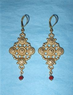 Brass and Ruby Jade Leverback Earrings  http://www.craftsbychriscinthia.etsy.com