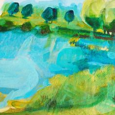My favourite little pond, painting, acrylic, Nature...fishing