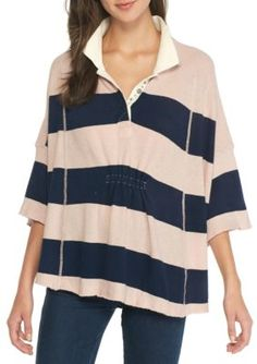 Free People Women's Rugby Stripe Polo Shirt - Pink - Xs