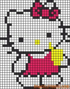 Hello Kitty soda perler bead pattern