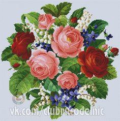 Romantic Bouquet by Ellen Maurer-Stroh Cross Stitch Love, Cross Stitch Flowers, Cross Stitch Charts, Cross Stitch Patterns, Embroidery Patterns Free, Rose Embroidery, Cross Stitch Embroidery, Cross Stitching, Images