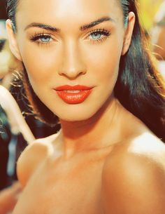 minimal eye makeup with a pop of bright lip colour - megan fox