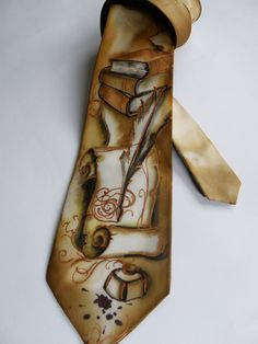 Exclusive Gift for MEN'S Hand painted silk men necktie for Writer or lawyer , light brown FREE SHIPPING. $110.00, via Etsy.
