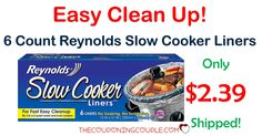 CHEAP BUY! Get Reynolds Slow Cooker Liners for only $2.39 shipped (compare to $3.19 at Target!) Make cleanup easy!  Click the link below to get all of the details ► http://www.thecouponingcouple.com/reynolds-slow-cooker-liners/ #Coupons #Couponing #CouponCommunity  Visit us at http://www.thecouponingcouple.com for more great posts!