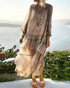 boho Dress - € - Solid Wrap Long Sleeve Maxi A-line Dress Long Sleeve Maxi, Maxi Dress With Sleeves, Half Sleeves, Sleeved Dress, Mode Hippie, Robes Vintage, Moda Boho, Maxi Robes, Vacation Dresses
