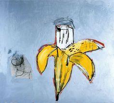 Jean-Michel Basquiat, Brown Spots (Portrait of Andy Warhol as a Banana), 1984, Acryl und Ölkreide auf Leinwand, 193 x 213 cm, Sammlung Bisch...