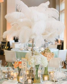 Make your table decor pop with these feather centrepieces! Feathers are available in different colours and sizes! . . . . #wedding #weddingideas #weddinginspiration #weddingday #weddingplanning #weddinginspo #weddingdetails #bridetobe  #weddings #weddingdesign #partyideas #partysupplies #partydecoration #eventplanner #partyplanning #eventdecor #ostrich #feathers #feathercenterpiece #ostrichfeathers #toronto #2020weddings #gatsbytheme #featherdecor #diyfeathers #vallaridecor #centrepiece Feather Centerpieces, Diy Centerpieces, Art Deco Wedding, Green Wedding, Summer Wedding, Wedding Flowers, Event Decor, Wedding Designs, Wedding Details