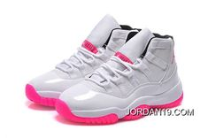 Best Price Womens Air Jordan 11 GS White Pink Black Shoes For Sale - ishoesdesign Nike Air Jordans, Pink Jordans, Jordans Girls, Womens Jordans, Shoes Jordans, Pink And White Jordans, Retro Jordans, Cheap Jordans, Jordan 11