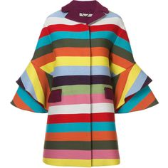 Multicoloured wool blend rainbow striped frill cuff coat from Mary Katrantzou featuring a notched collar, a concealed front fastening, a striped pattern, a pan…