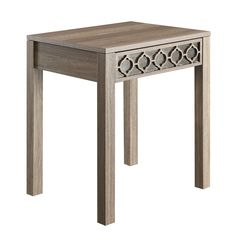 OSP Designs Helena End Table, in Greco OAK Finish with Mirror Accent Panel
