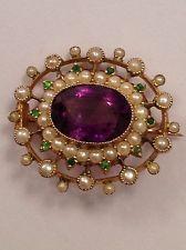 Suffragette Jewelry | ... EDWARDIAN 9ct GOLD AMETHYST PERIDOT PEARL SUFFRAGETTE PENDANT BROOCH
