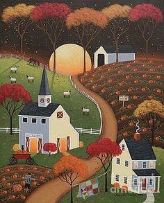 Pumpkin Moon Art Print Pumpkin Moon Print by Mary Charles. All prints are professionally printed… Pumpkin Moon, Primitive Folk Art, Primitive Stitchery, Primitive Patterns, Primitive Snowmen, Primitive Crafts, Wood Crafts, Art Fantaisiste, Art Et Illustration