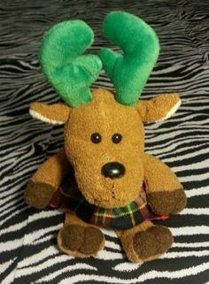 ~ Christmas Reindeer Girl Dress Plush Stuffed Animal Toy ~ Stocking Stuffer~ EUC