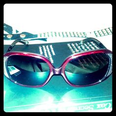 """Rock Republic """"young lust"""" Sunglasses maroon Unique pair from R&R. Red/maroon rims with studs on outer corners and skulls ending at each arm. These are so sexy! Labeled young lust/ red horn. Still not sure I wang to let them go... Offers welcome! Rock & Republic Accessories Glasses"""