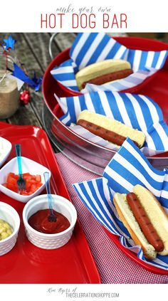 Make Your Own Hot Dog Bar | Kim Byers, TheCelebrationShoppe.com  #greatergrilling #redwhiteblue #summerentertaining